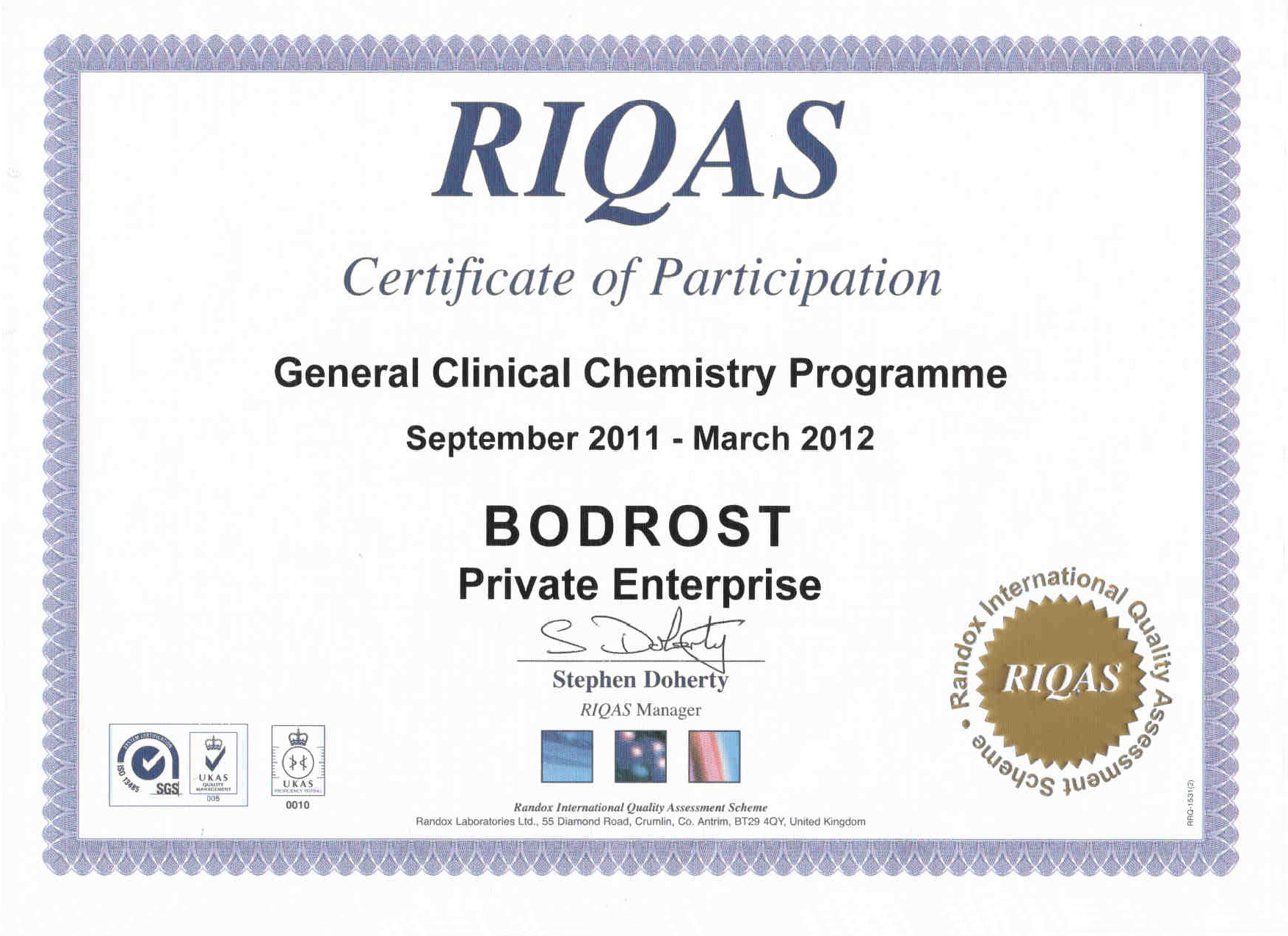 Certificate of Participation: General Clinical Chemistry Programme